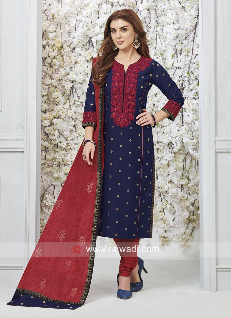 c0848891ec Navy Blue Cotton Silk Salwar Suit with Dupatta. Hover to zoom