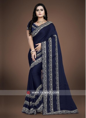 Navy Blue Crepe Silk saree with matching blouse
