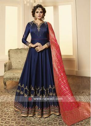 Navy Blue Designer Anarkali Salwar Kameez