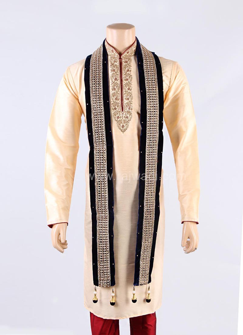 Navy Blue Designer Groom Dupatta