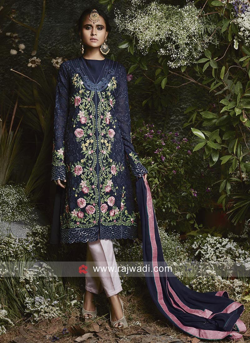 Navy Blue Designer Pakistani Salwar Kameez