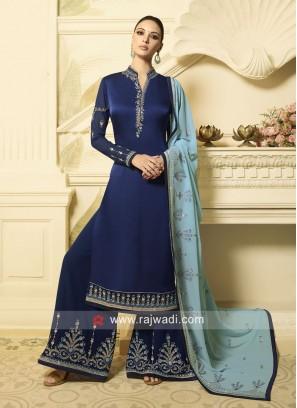 Navy Blue Designer Palazzo Suit