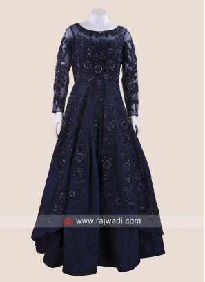 Navy Blue Double Layered Heavy Gown