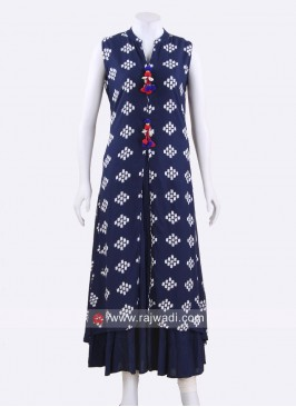 Navy Blue Double Layered Kurti