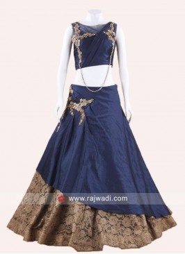 Navy Blue Double Layered Lehenga Choli