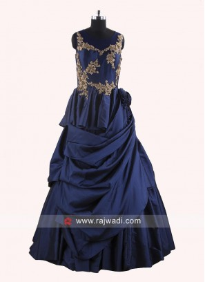 Navy Blue Drape Gown with Embroidery Work