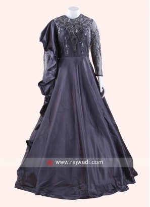 Navy Blue Embroidered Gown with Layered Sleeve