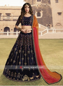 Navy Blue Lehenga Choli with Shaded Dupatta