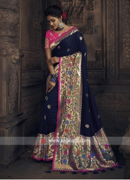 Navy Blue Embroidered Saree with Blouse