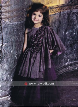 Party Wear Flower Work Girls Gown