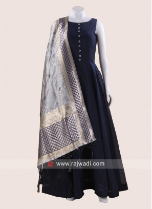 Navy Blue Floor Length Anarkali Salwar Kameez