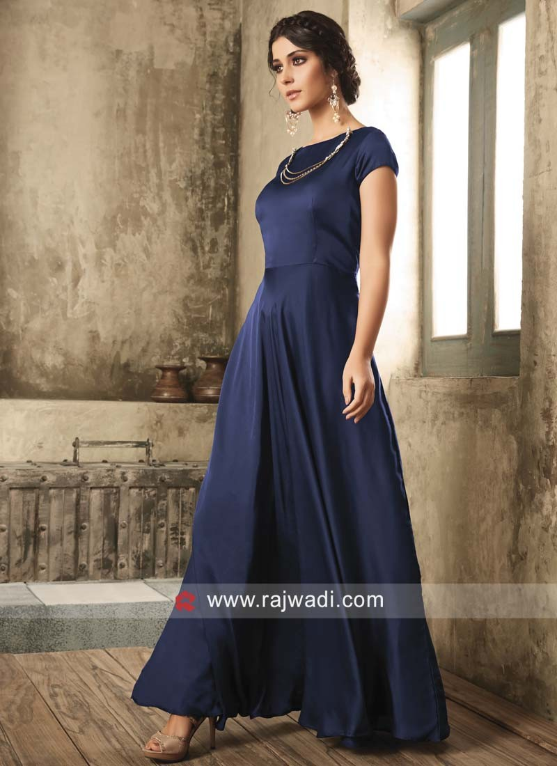 Navy Blue Floor Length Gown