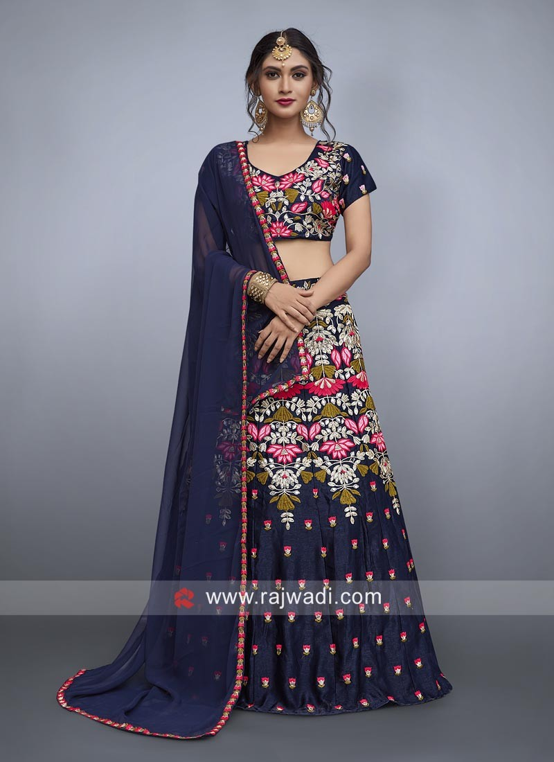 Navy Blue Flower Work Lehenga