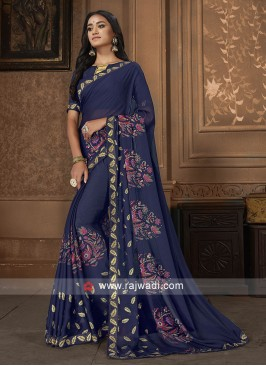 Navy Blue Georgette Work Saree