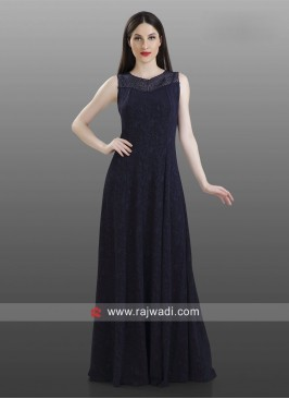 Navy Blue Gown Style Kurti