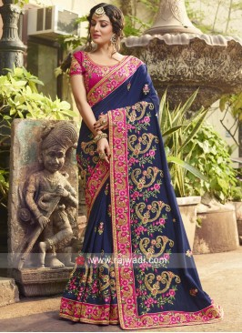 Navy Blue Heavy Saree with Blouse