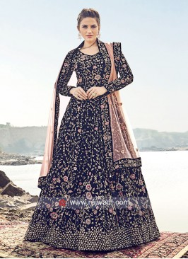 Navy Blue Heavy Work Gown with Dupatta