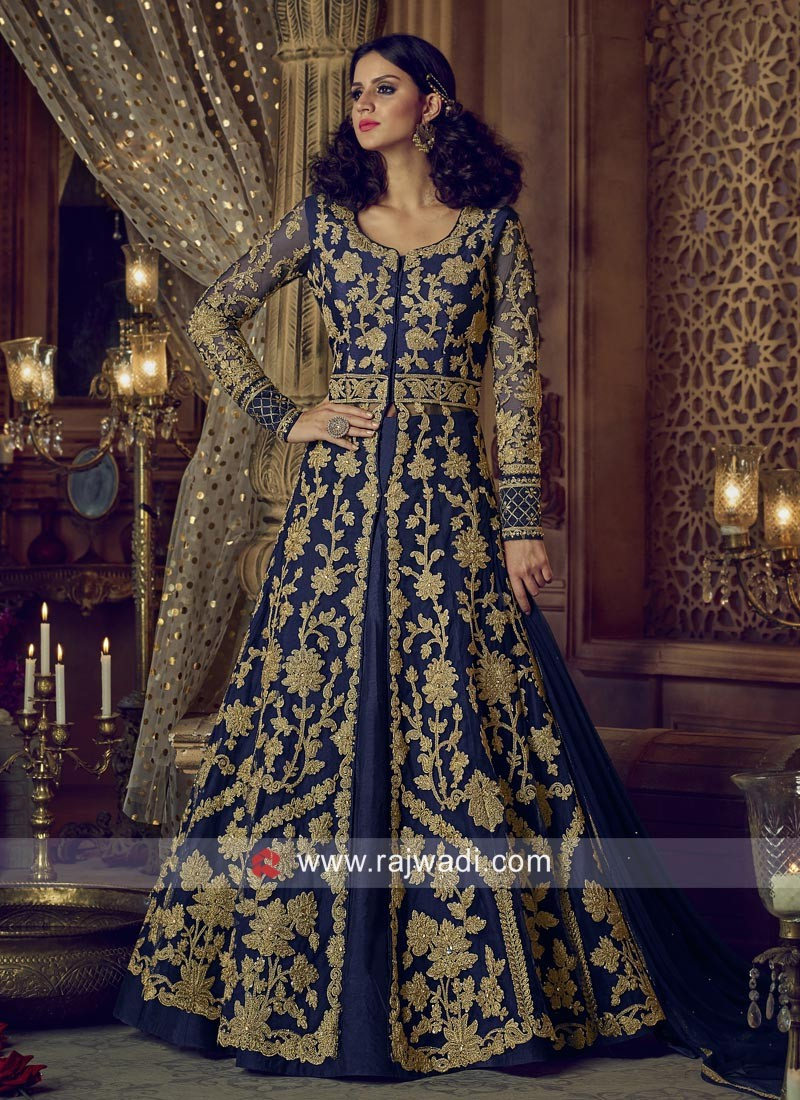 Navy Blue Heavy Work Salwar Kameez