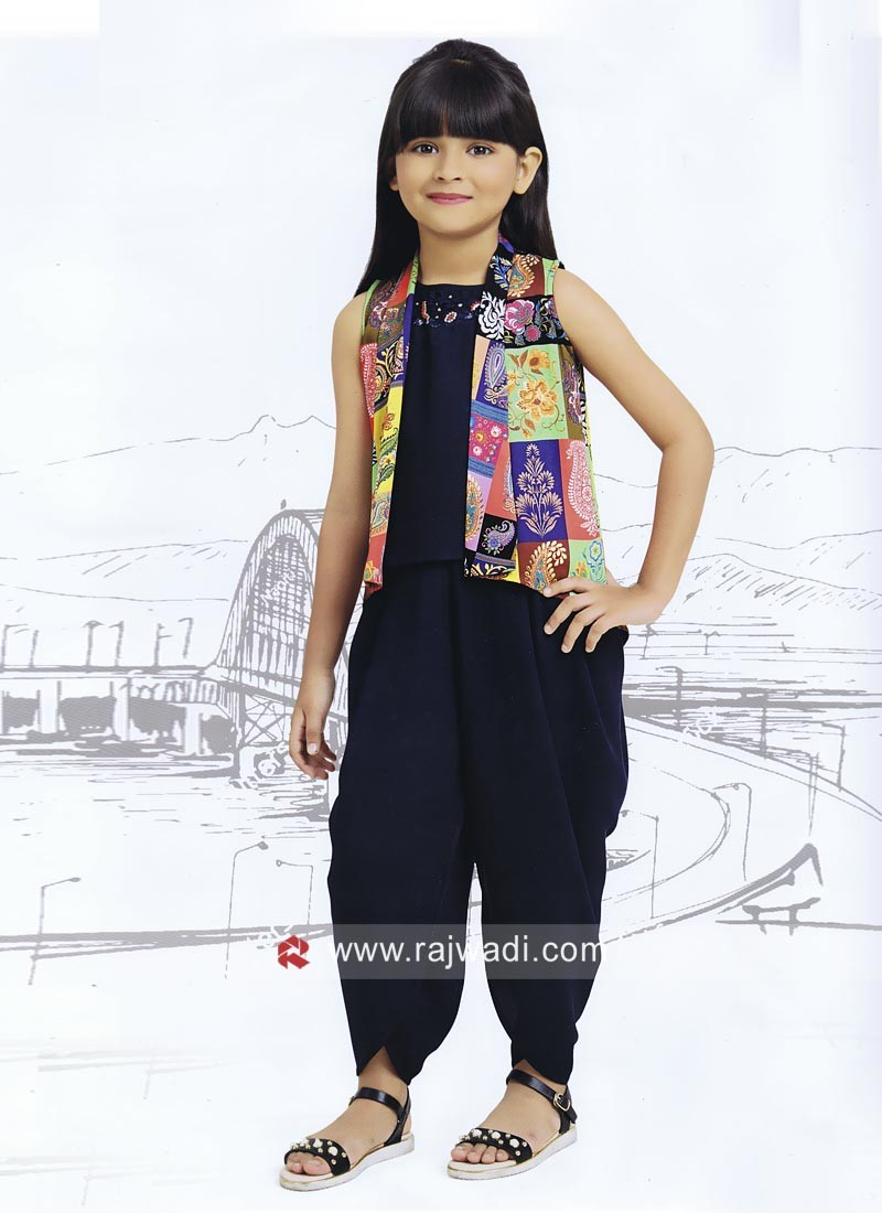 Navy Blue Kids Dhoti Suit with Printed Koti
