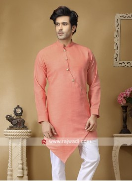 Charming Peach Linen Fabric Kurta