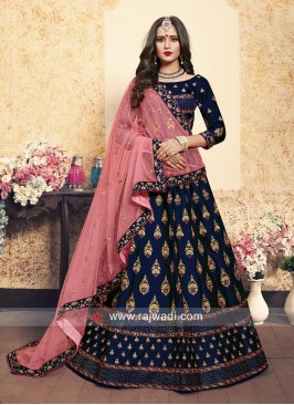 Navy Blue Lehenga Choli with Dupatta
