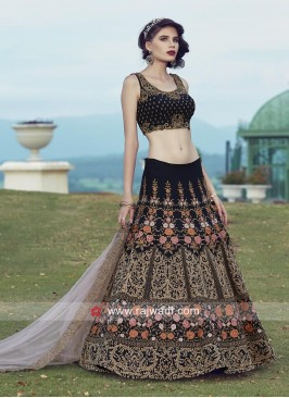 Navy Blue Lehenga Choli with light Pink Dupatta