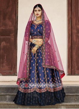 Navy Blue Lehenga Choli with Pink Dupatta