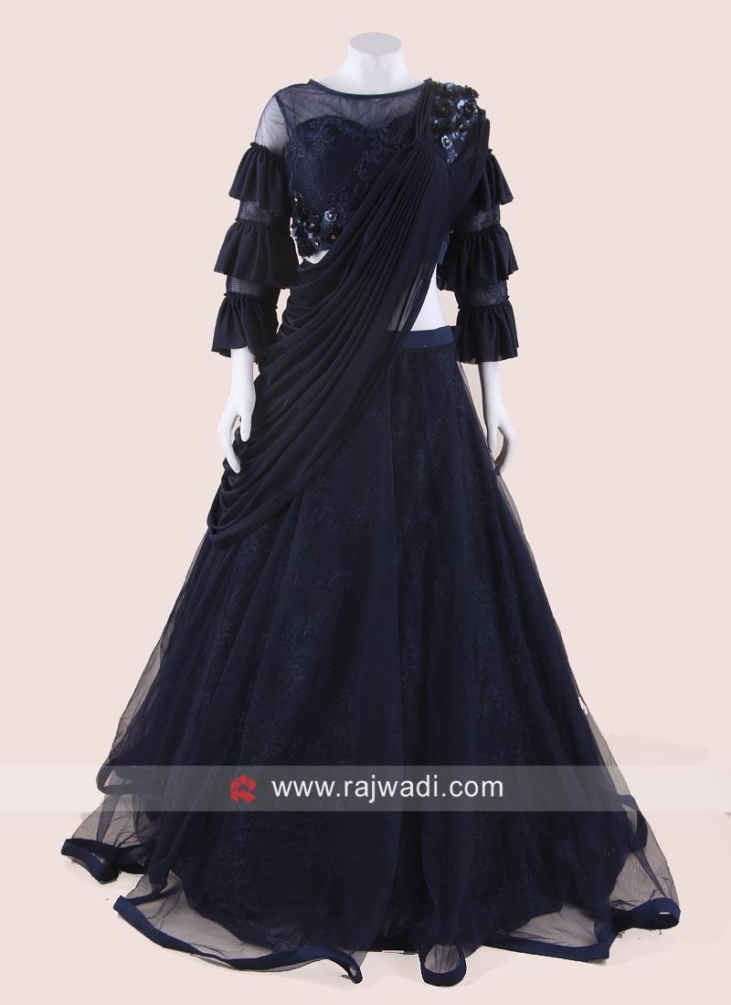 Navy Blue Lehenga Set with Attached Dupatta