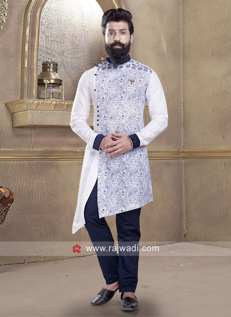 White Printed Mens Pathani Suit