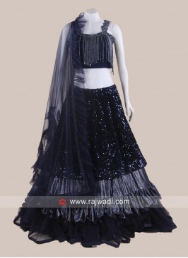 Navy Blue Multi Layer Lehenga Set with Dupatta