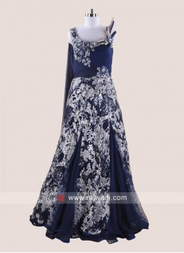 Navy Blue Multi Slit Gown with Attached Dupatta