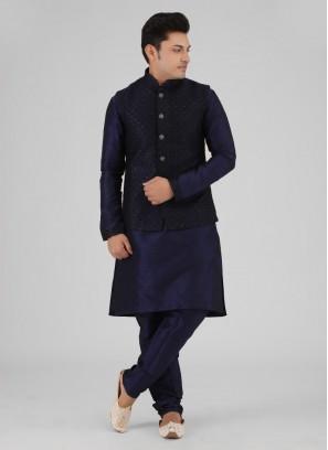 Navy Blue Nehru Jacket Suit For Wedding