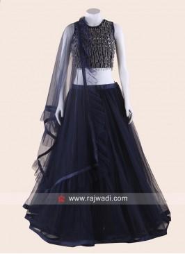 Navy Blue Net Designer Lehenga