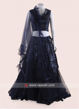 Navy Blue Net Layered Lehenga Choli
