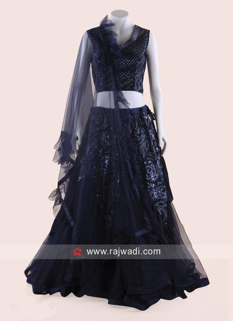 Navy Blue Net Layered Lehenga Choli