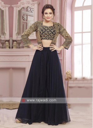 Navy blue palazoo suit with koti