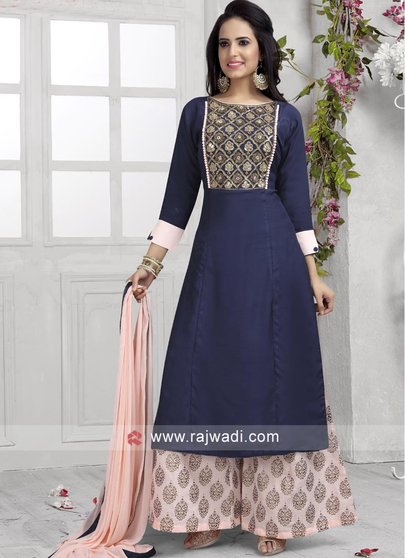 Navy Blue Palazzo Suit with Dupatta