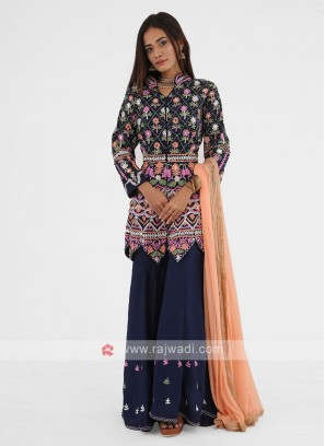 Navy Blue Palazzo Suit With Peach Color Dupatta