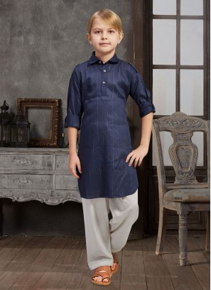 Navy Blue Pathani Suit For Boys