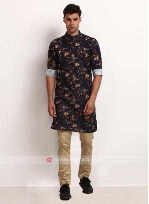 Navy Blue Printed Kurta Pajama