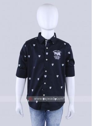Navy Blue Printed Shirt