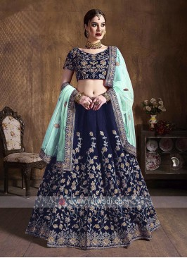 Navy Blue Raw Silk Lehenga Choli