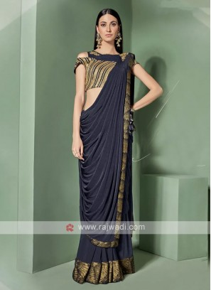 Navy Blue Ready Pleated Saree