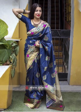 Navy Blue Saree with Blouse