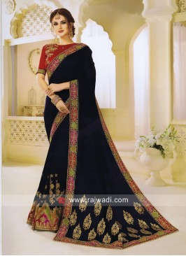 Navy Blue Saree with Red Blouse
