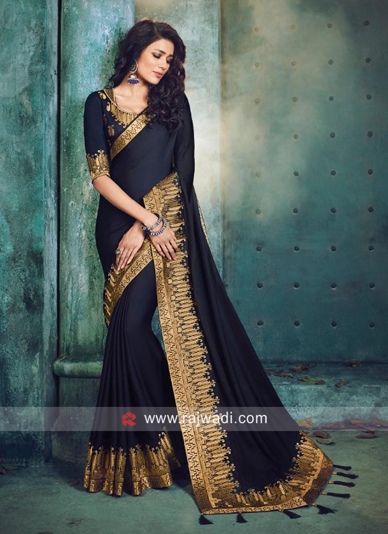 Navy Blue Saree with Zari Border