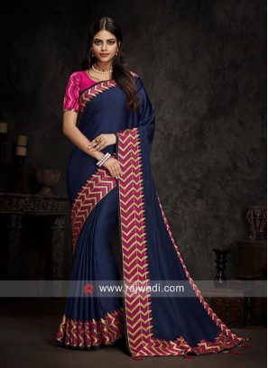 Navy Blue Sari with Zig Zag Border