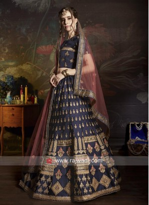 Navy Blue Satin Lehenga Choli