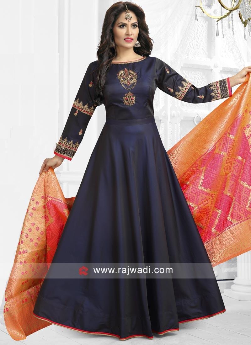 6d0d2d9dae Navy Blue Satin silk Anarkali Salwar Kameez. Hover to zoom