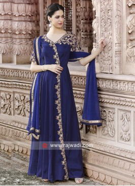 Navy Blue Semi Stitched Salwar Kameez